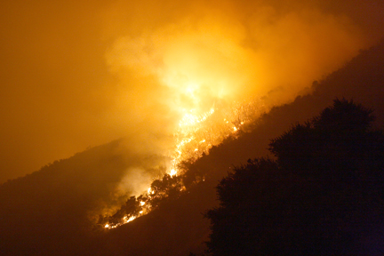 File photo The Crescenta Valley is no stranger to wildfires. The Station Fire burned across CV back in 2009, seen here on the hillside near Rock Castle Drive.