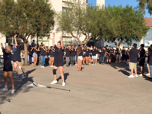 Cheer demonstrations were held on the quad