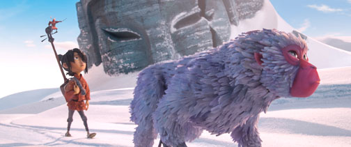 Photo Courtesy Focus Features Kubo, left, voiced by Art Parkinson, searches the frozen waste with Monkey, voiced by Charlize Theron. The voice cast also includes Matthew McConaughey, Ralph Fiennes, Rooney Mara and George Takei.