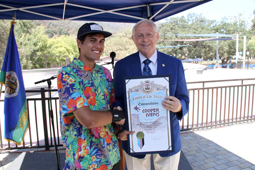 Photos by Charly SHELTON Cooper Ivens, (left) who was one of the CV teens that brought the idea of a skate park to the county of Los Angeles, received a commendation from Supervisor Michael Antonovich at the official skate park opening on Monday.