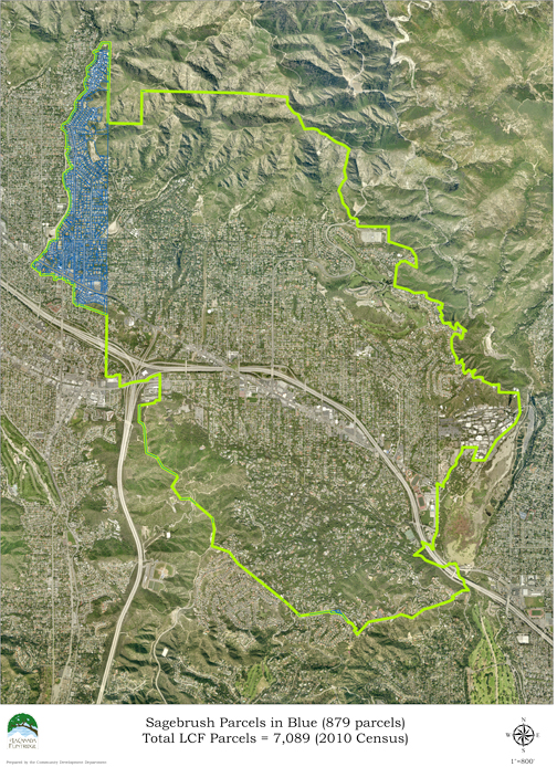 Photo Courtesy UniteLCF Aerial view provided by the City of La Cañada, with the outline of the city in white. Sagebrush, the portion of La Cañada under GUSD, is noted in the black box.