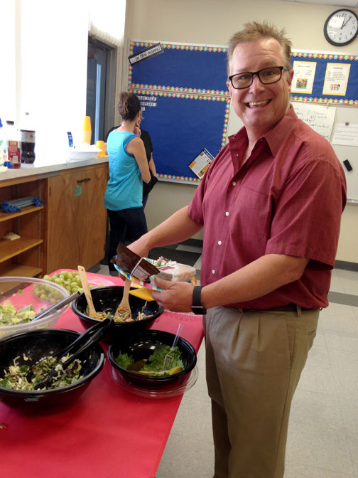 Valley View Principal Dr. Brook Reynolds helped himself to some of the delicious offerings at the  PTA luncheon