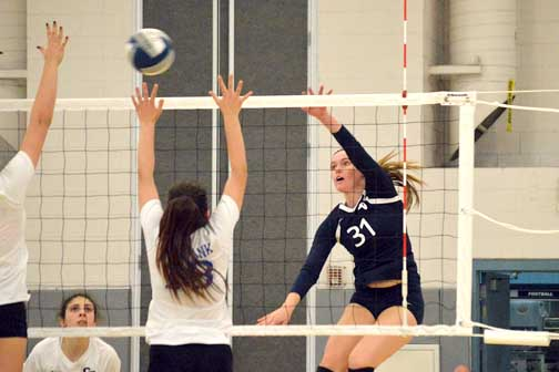 Photos by Brandon HENSLEY Patty Kerman had 16 kills at Tuesday's game helping to cinch the win 26-24 over Burbank.