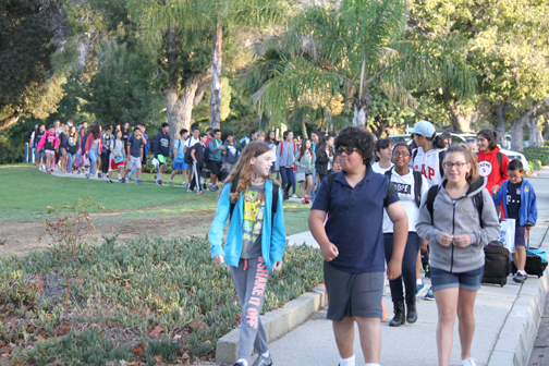Photo by Charly SHELTON Thousands of students could be seen on Wednesday walking to school.
