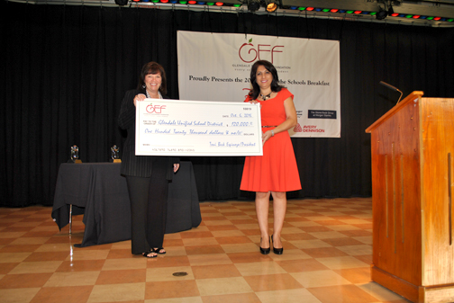 GEF President Toni Beck Espinoza (left) presented a check for $120,000 to GUSD board of education president Dr. Armina Gharpetian at the annual State of the Schools Breakfast.