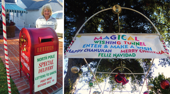 Photos by Julie BUTCHER LEFT: Since 1982, Patti Wassell (pictured) and her husband Russ have had a mailbox in front of their home for letters to Santa Claus.  RIGHT: Visitors are invited to step through the Wishing Tunnel.