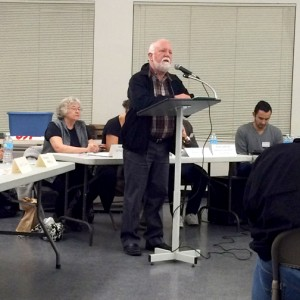 Photo by Nestor CASTIGLIONE Mark Stirdivant took the podium at Wednesday's meeting to voice concern regarding the proposed closure of the Verdugo Hills Golf Course.