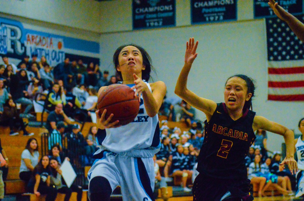 Rachel Dayag goes for a layup Thursday vs. Arcadia.