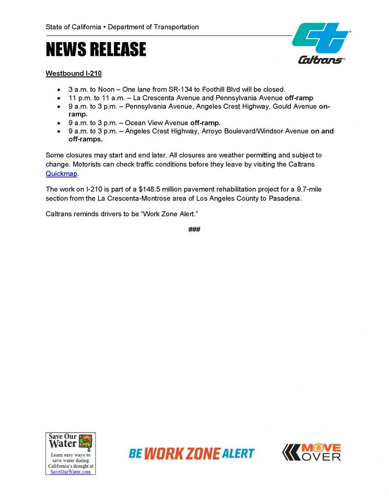 Caltrans Offers Updates on Foothill Freeway Closures