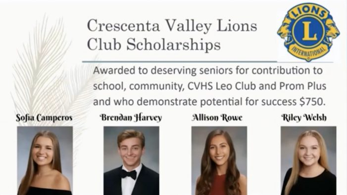 Crescenta Valley Lions Club Awards Scholarships to Four CVHS Seniors